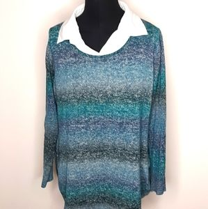 Avenue Shirt with Striped Sweater Combo To…